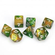 Dice 7-set Gemini Gold Green