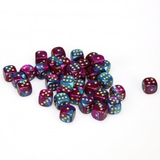 Dice Cube 12 mm Purple Teal Gold