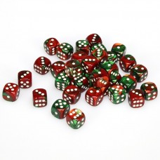 Dice Cube 12 mm Festive Green Red White