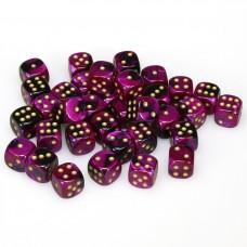 Dice Cube 12 mm Black Purple Gold