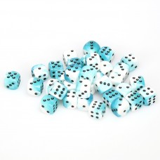 Dice Cube 12 mm White Teal Black